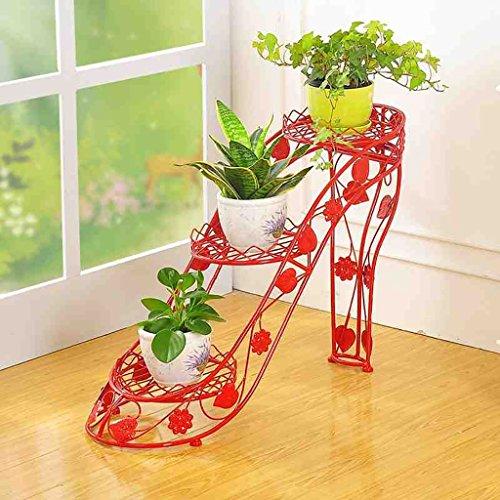 European Style Iron High Heels Art Blumen Racks Floor Style Blumentopf Rack Wohnzimmer Möbel Bonsai Frame ( Farbe : Rot ) Sm Rack