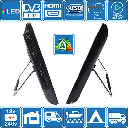 51wrIS4VeIL - Autocaravana Caravana Barco Cocina 12 voltios 14 Pulgadas LED TV Digital HD DVB-T2. TDT y Toda la televisión de Europa. 12V 230V USB PVR y Reproductor Multimedia, Monitor CCTV HDMI de Unispectra®