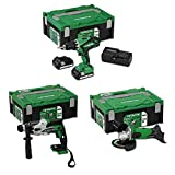 Combo Pack Hitachi Universal 18 V Set Akkuschrauber Winkelschleifer Bohrhammer Handwerker Heimwerker