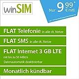 winSIM LTE All 3 GB Allnet Flat [SIM, Micro-SIM und Nano-SIM] monatlich kündbar (FLAT Internet 3 GB LTE mit max. 50 MBit/s mit deaktivierbarer Datenautomatik, FLAT Telefonie, FLAT SMS und FLAT EU-Ausland, 9,99 Euro/Monat)