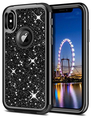iPhone X Glitter Case,Vunake 3 in 1 Hybrid Hard Cover PC Soft ...