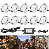 RSWLED 10x LED Spots Encastrables Extérieur IP67 2.5W Spot pour Terrasse Jardin Piscine Φ80mm DC 12V Lampe Blanc Chaud [Classe énergétique A] Lumière Escalier