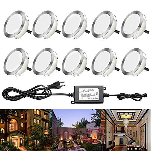 RSWLED 10x LED Spots Encastrables Extérieur IP67 2.5W Spot pour Terrasse Jardin Piscine DC 12V Lampe Blanc Chaud [Classe énergétique A] Lumière Escalier