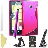 BAAS® Nokia Lumia 520 Rose S-Ligne Coque en gel silicone + Film de Protection d'Ecran + Stylet