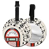 Round Travel Luggage Tags,Cartoon Antique Old Vintage Radio Music Box Party With Notes Artwork,Leather Baggage Tag
