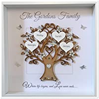 Personalised Family Tree 3D Box Frame Picture Keepsake Wedding Gift Home Christmas Birthday Anniversary Mothers Day Grey & Silver Glitter Up To 14 Names