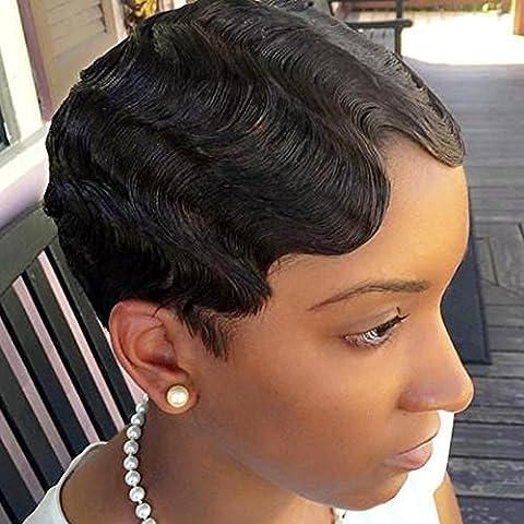 Perruque Bresilienne Naturelle Femme Vrai Cheveux Courte 100% Cheveux Humains Naturels Remy Ondule Noir naturel