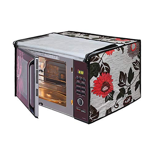 Glassiano Floral and Multi Printed Microwave Oven Cover for Samsung 23 Litre Solo Microwave Oven (MS23F301TAK/TL Black)