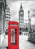 Poster London Big Ben Telefonzelle, 84x59 Kunstdruck von mldigitaldesign
