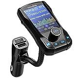 VicTsing Manos Libres Transmisor FM Bluetooth Coche,3 Puerto USB Cargador Adaptador de Radio Reproductor MP3 Coche Pantalla en Color TFT de 1.8 Pulgadas,Soporte Entrada AUX, USB Flash Drive,Tarjeta TF