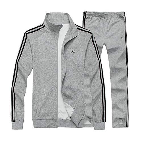 Sweatsuit Jacke Hose (ZWYY Herren Trainingsanzug, 2-teiliges Jacke und Hose, Durchgehender Reißverschluss, Sweatsuit Set, Sport, große Größe, Lange Ärmel, für Fitnessstudio, Joggen, Laufen)
