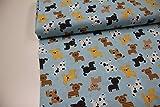 Stoff / Meterware / ab 25cm / beste Baumwoll-Qualität / Baumwolle (USA-Design) Hunde braun, grau auf hellblau (Robert Kaufman)