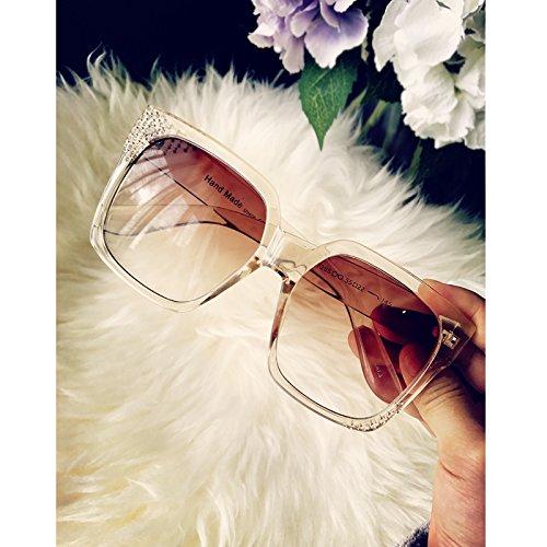 Der neue König sunyan Feld Größe die Sonnenbrille Mädchen rundes Gesicht mit Bohrer square Video dünne schwarze Sonnenbrille Persönlichkeit tide Gläser Champagner Farbe zu erhöhen.
