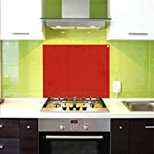 Pantalla antisalpicaduras de cristal / Panel de vidrio templado para cocina, 75 x 60 cm, Rojo
