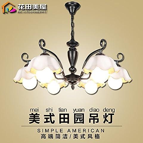 Ancernow caldo retrò creativo E27 Edison lampade a sospensione Idilliaco fiori in ceramica tecnica di ferro Lampadari per soggiorno, camera da letto, camera bambini, bar, café, ristorante,Rr2207#,Testa 6