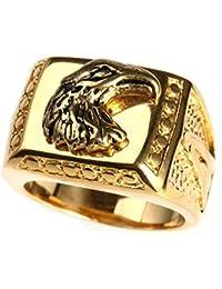 a4b87241699d Adisaer Anillo Acero Inoxidable Para Hombres Antiguo Dedo Anillos Cuadrado  Águila Plata Anillo Biker Anillo Tamaño