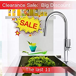 Pull Out Kitchen Tap, Yegu Full Brass Lead-Free Pull-Down Kitchen Sink Faucet with Spray/Stream Water Mode 360째 Rotating Spout No Splashing Hot Cold Water, International Standard 10 Years Warranty