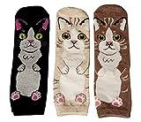 Damen Socken | (3 Paar) Süße Katzen Motive (Schwarz Weiß Braun) | (Größe 35-40)