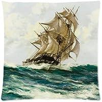 Vintage-Stil, Vintage, Segelschiff, Motiv Piratenschiff, Design Kissenbezug Sofa, Bett, Zuhause Kissenbezug, 18 Stück 18, 2 Seiten), mit Reißverschluss