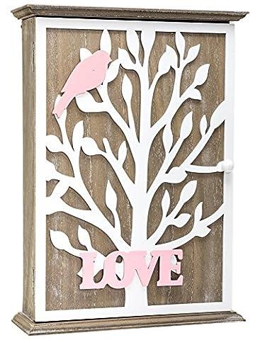 en bois style shabby chic Boîte à clés clés support de stockage Crochets à fixation murale Oiseau Blanc Arbre