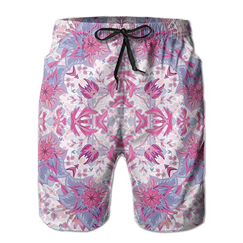 Mens Beach Shorts Swim Trunks,Arabesque Boho Ethnic Middle Eastern Persian Floral Oriental Old Design Pink Light Blue,Summer Cool Quick Dry Board Shorts Bathing SuitXXL Old Navy Floral Dress