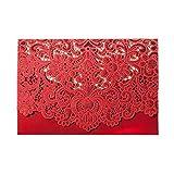 PONATIA 25 PCS Kit di lusso di taglio laser per carta di invito Schede Flora Invito Cardstock con busta e guarnizioni adesive per la festa nuziale (carta rossa)