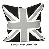 JUBILEEHOMEWARE Union Jack 100% Baumwolle Kissen, Sofa Fällen Couch Kissen 45,7x 45,7cm paspeliert schwarz/grau
