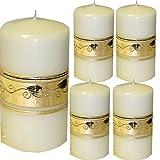 Weihnachten Kerzen Set 4 Stück Stumpenkerzen Adventskerzen 100x50 Dekokerzen Kerzen für Adventskranz Tischkerzen WEISS mit Ornament gold andere Farben möglich IW1