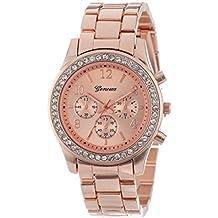 Vovotrade clásico de lujo mujer damas chica unisex reloj de pulsera de cuarzo de acero inoxidable, rosa de oro / dorado / plateado (rosa dorado con diamante)
