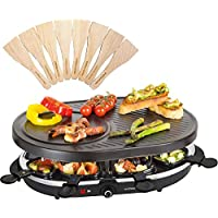 Andrew James Raclette Grill | Traditional 8 Person Party Grill with 8 Colour Coded Pans & Wooden Spatulas | Adjustable Thermostatic Heat Control | Large Ridged Non-Stick Cooking Surface | 1200W