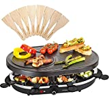 Andrew James Raclette Grill | Traditional 8 Person Party Grill with 8 Colour