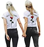 Shujin 1 Stücke Damen Mädchen Sommer Süß Partnerlook T-Shirt mit Rose Aufdrucken Best Friends Kurzarmshirt Freund Shirt Oberteile Tops (S, Rot)