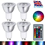 GU10 LED Lights Bulbs, URPIRE 4W Spotlight Bulb 16 Colour Changing Lights with 24 Keys Remote Control for Home Decoration, Bar, Landscape, Bedroom, Living Room, Track Lighting ( 4 Pack )