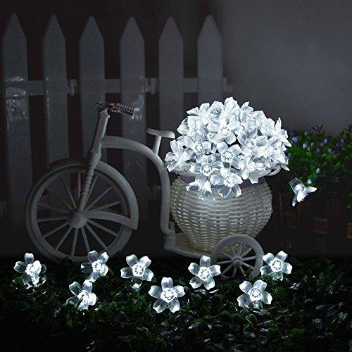 Ledertek solares luces de hadas 50 led blanco flor - Luces exterior solares ...