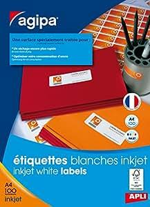 Etiquettes blanches format 63.5x33.9 par 2400 etiquettes