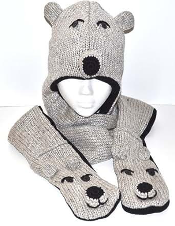 Fairhats - Set Bonnet + Echarpe + Gants Caractère Ours polaire , Tricoté dans un style Népalais