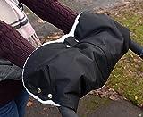 Kinderwagen Handwärmer, MIJOYE Extra Dick Fleece Innenseite Handmuff Handschuhe Universalgröße für Kinderwagen Buggy Radanhänger, Wasserfest atmungsaktiv und windfest(Schwarz)