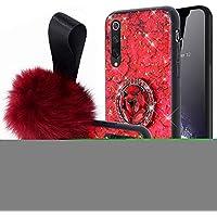 JAWSEU Funda Brillante Compatible con Xiaomi Mi 9 SE con Anillo, Brillo Bling Glitter Diamante Carcasa Duro PC + Suave Silicona TPU Gel Goma Bumper Ultra Delgada Protectora Cubierta,Roja