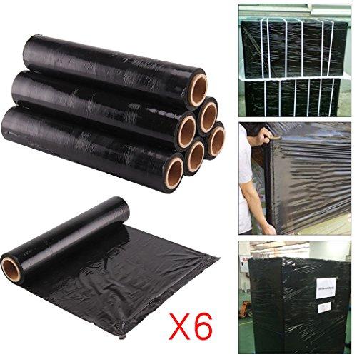 Palettenfolie Wickelfolie Schrumpffolie, 6Rollen, 400mm breit, Schwarz, 17µm Stärke