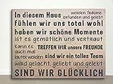 wohnstil24 Leinwand 60x40 Haus - Familie - Team Schriften/Sprüche, Text-Deko