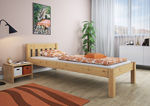 erst holz einzelbett mit rollrost 90 200 massivholz natur smash. Black Bedroom Furniture Sets. Home Design Ideas