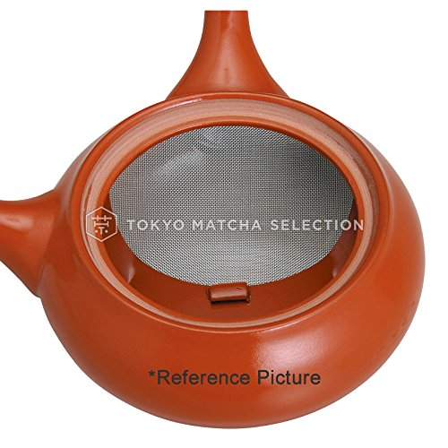 TOKYO MATCHA SELECTION - World Heritage Mt. FUJI (Red) - Japanese Pottery Tea Pot 340cc Fine Mesh Net [Standard ship by SAL: NO Tracking & Insurance]