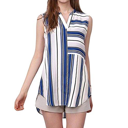 Tops Femmes Toamen T-shirt Femmes Impression à rayures Décontractée Chemisier à rayures Sans manches Chemisier Haut Mode (M, Bleu)