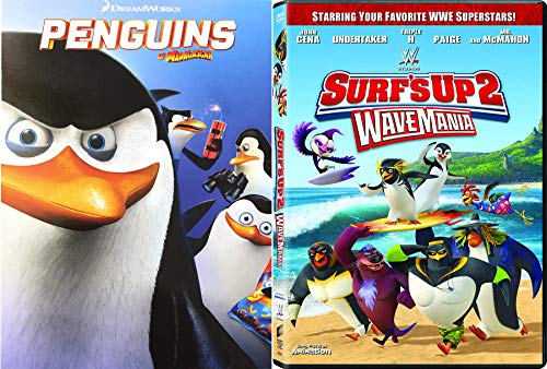 Radical surfing dream team Surf's up 2: Wavemania + Cute Penguins of Madagascar the Movie Dreamworks Animated movie set DVD Family Fun Bundle Double Feature penguin Collection