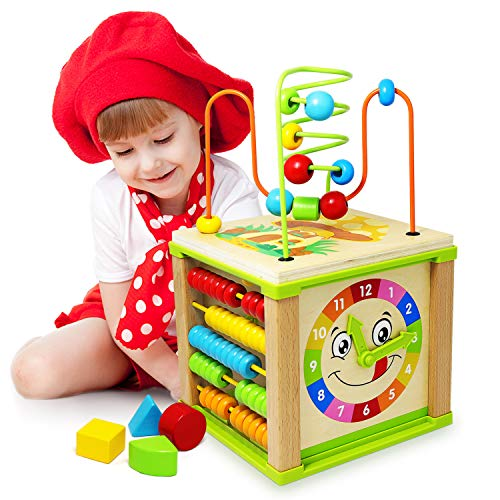 Ulmisfee Activity Cube Toys Baby Educational Wooden Bead Maze Shape Sorter For 1 2 3+ year old Boy And Girl Toddlers Gift