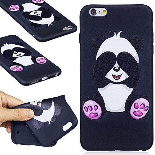 Coque iphone 6 / 6S,Coffeetreehouse Motif soft coloré de motif estampé Noir mince TPU Protecteur Case Pour iphone 6 / 6S(Flash papillon) Shy panda