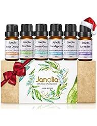 Janolia Huile Essentielle, Set de 6 Huile Essentielle Bio avec Coffret Cadeau, Aromathérapie Huile Parfumé Naturelles, Humidificateurs Oils, Six Effets Différents des Huiles Essentielles.