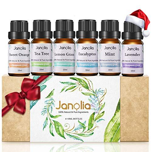 Janolia ätherisches Öle Set, Upgrade-Paket,Reines Natürliche Duftöle Set für Diffuser Entspannung Schlaf verbessern,6x10ml -