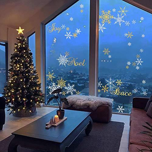 Decalmile Pegatinas Navidad Copos Nieve Pegatinas