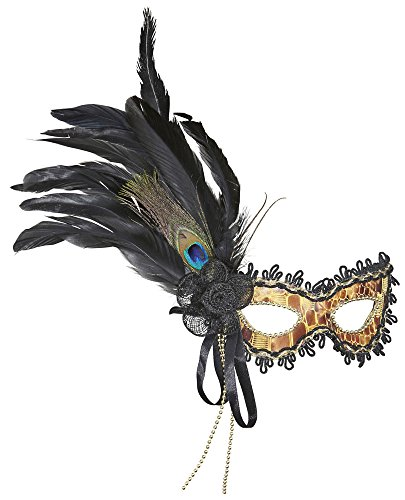Augenmaske Savona Gold Schwarz - Wunderschöne Maske mit Federn zum Thema Karneval in Venedig, Maskenball oder Mottoparty